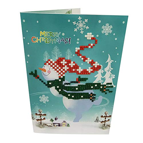 Mitlfuny Weihnachten DIY Home Decor 2019,Diamant-Karikatur, die Miniweihnachtsmann-Frohe Weihnacht-Papierfertigkeit-Postkarten Malt