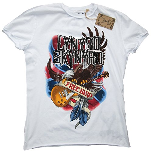 Amplified T-shirt da uomo bianco Official Lynyrd Skynyrd Free Bird Rock Star Vintage bianco S