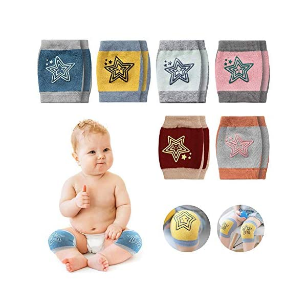 JAWSEU - 1 par de rodilleras de algodón para bebé, para gatear, de punto, con estampado de estrellas, para niños y niñas… 1
