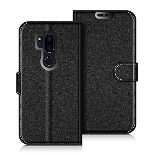 COODIO LG G7 ThinQ Hülle Leder Lederhülle Ledertasche Wallet Handyhülle Tasche Schutzhülle mit Magnetverschluss/Kartenfächer für LG G7 ThinQ, Schwarz