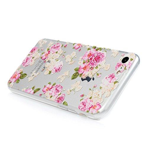 Lanveni Handyhülle für iPhone 7 Hülle Etui Protective Case Cover TPU Silikon Schutzhülle TPU-Bumper Weiche Silikon Case mit Bunte Cover Design (Grüne Blätter) Rose