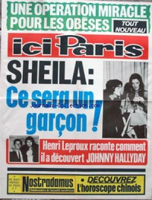 AFFICHE DE PRESSE - SHEILA - CE SERA UN GARCON - RINGO - HENRI LEPROUX RECONTE COMMENT IL A DECOUVERT JOHHNY HALLYDAY.
