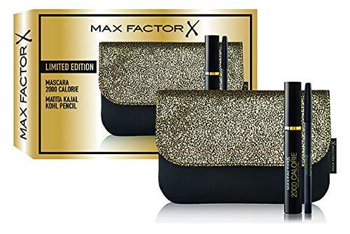 Max factor - confezione regalo - pochette con mascara volumizzante 2000 calorie e matita occhi nera a lunga durata kajal kohl pencil