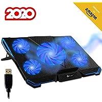 KLIM™ Cyclone - Base de Refrigeración para Portátil + Potente Refrigerador Portátil con 5 Ventiladores para Ordenador Gaming + Varias inclinaciones + Soporte Estable + Azul [Nueva Versión 2020]