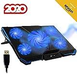 KLIMTM Cyclone - Base di Raffreddamento PC Portatile + Laptop Stand con 5 ventole + Il Miglior Supporto Raffreddatore + Cooling Pad Gaming PS4 Xbox One + Blu + Nuova Versione 2020