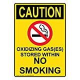 Vertical Osha Caution Oxidizing Gas(Es) Stored Within No Smoking Vinyl Stickers Signs Self-adhesive Lables Sticker Decal Signs Novelty Funny 10 X 7 In Yellow