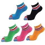 Panegy Damen 5 Paar Atmungsaktiv Sneaker-Zehensocken Sportsocken für Größe 36 bis 39 - Bonbon Farben