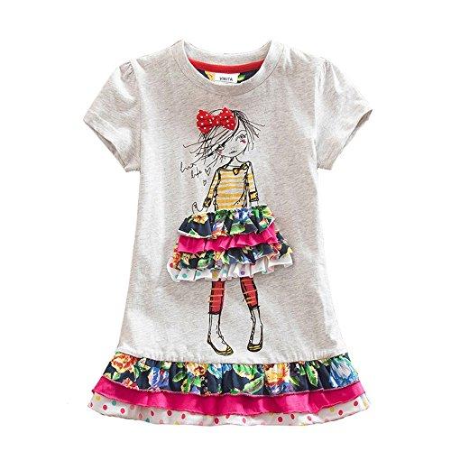 VIKITA Mädchen Sommer Blume Kurze Ärmel Baumwolle Freizeit Kleid SH3660 8T