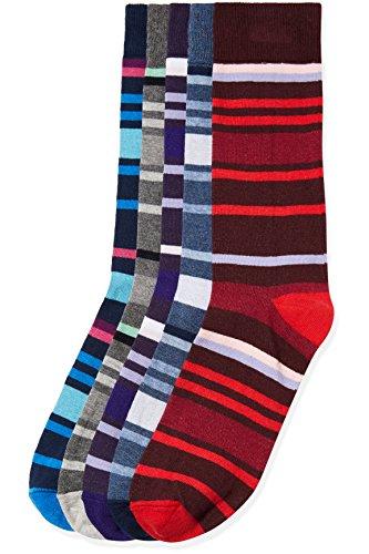 FIND Herren Socken mit verschieden farbigen Streifenmustern 5er-Pack Mehrfarbig (Multi Coloured), Gr. 45-48 (9.5-12 UK) (Multi Streifenmuster)