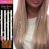 Glitzernde Haarsträhnen, Gold' - HAIR DAZZLE - Weihnachtsgeschenk, Accessoires für Meerjungfrau/Einhorn-Haar für Mädchen, Farbe und Glanz verleihen, Geschenke für Mädchen