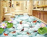 Yosot Alta Definizione Seducente Carta Da Parati Di Loto Koi Nove Pesci Figura Stagno Di Loto 3D Pavimentazione Pittura-250Cmx175Cm