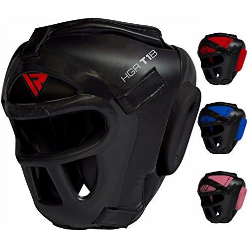 RDX Zero Impact Grill-X Leder Abnehmbarer Gesichtsschutz Kopfschutz, Schwarz, M