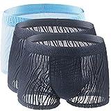 LITTHING Lot de 3 Boxer Slip Shorts sous-Vêtement Homme Sexy Culottes Caleçon pour Homme U Convexe Boxer Briefs en Soie de Glace Dentelle Respirable pour Homme (2Noir+1Bleu, L)