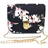 Misaky Women Butterfly Flower Printing Handbag Shoulder Bag Tote Messenger Bag (Black)