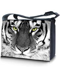Luxburg® design sacoche sac de messager à bandoulière pour ordinateur portable Notebook 17,3 pouces, motif: Des yeux de tigre