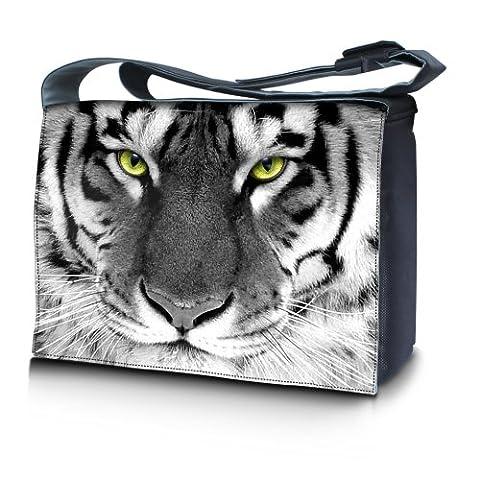 Luxburg® design sacoche sac de messager à bandoulière pour ordinateur portable Notebook 17,3 pouces, motif: Des yeux de