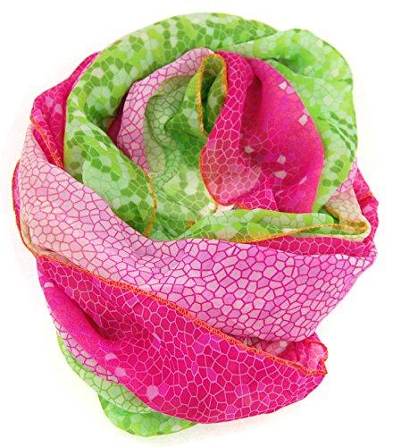 NB24 Versand Damen Loop Schal (571), grün rosa, Damenmode, Endlosschal, doppellagig, Schlauchschal, Damenbekleidung, Damenschal, Tuch