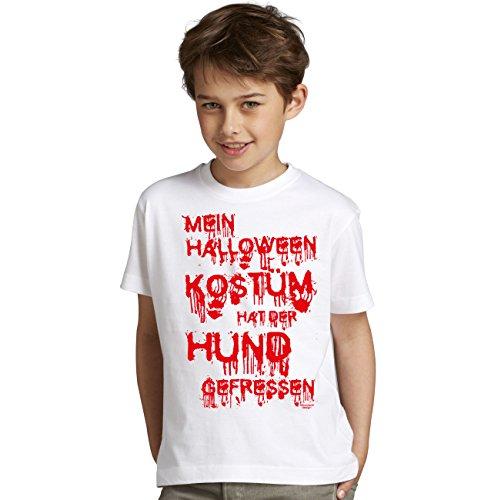 �m hat der Hund gefressen Lustiges Sprüche-Fun-T-Shirt - Outfit Verkleidung für Kinder Jungen Teenager Super Geschenk-Idee Farbe: weiss Gr: 134/146 (Lustige Hund Halloween-kostüm Ideen)