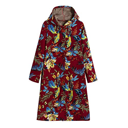 IMJONO Womens Winter Warm Outwear Floral Print Hooded Pockets Vintage Oversize Coats (XXXXX-Large,Rot)
