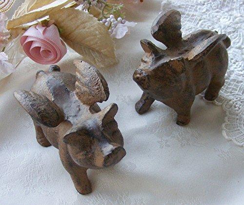 Upper Deck Briefbeschwerer aus Gusseisen, Schweine mit Flügeln, 2 Stück
