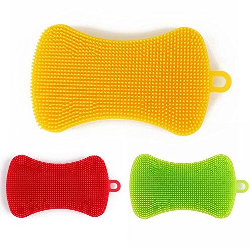 3PACK Silikon Gericht Waschen Pinsel, Silikon Reinigungsbürsten Seife Form Obst Gemüse Isolierung Pad für Waschen Pading (zufällige Farbe)