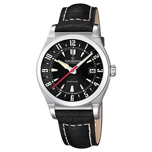 Montre Candino automatique Homme Cadran Noir Bracelet en cuir noir C4441/5