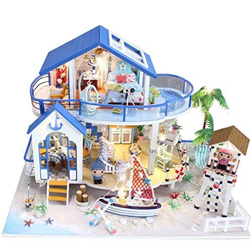 Jeteven Juegos de Miniaturas Casa de Muñecas de Madera DIY Playset para Niños Regalo de Cumpleaños de Navidad Leyenda del Mar Azul 32x21.5x22 cm