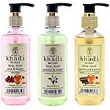 Vagad's Khadi Rose & Honey, Jasmine & Mogra, Sandalwood & Honey Body Wash Pack (200ml x 3)