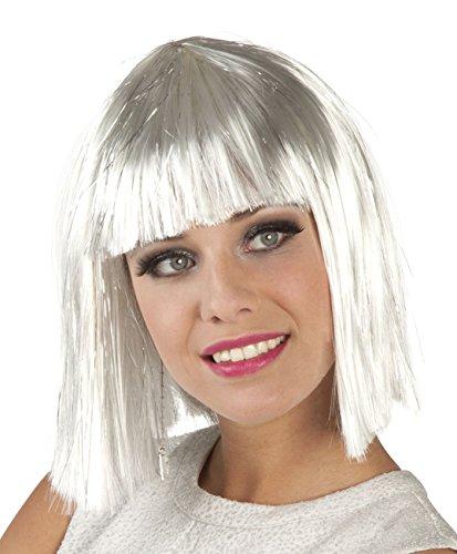 Boland 86165 Erwachsenenperücke Gigi Glamour mit Lametta, weiß, One Size