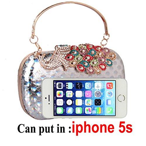 Einfache hand Tasche Ledertasche Peacock diamond Hartbox Handtasche Laser bunte Party Kleid Abend Tasche Tasche black