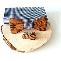 Holzfliege; Holz fliege, Manschettenknöpfe und Einstecktuch