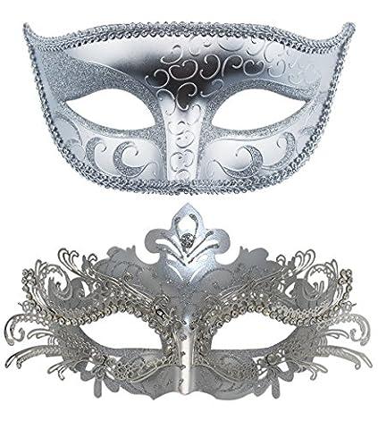 Couple en métal mascarade masques vénitien Halloween Masque Masque de Mardi Gras