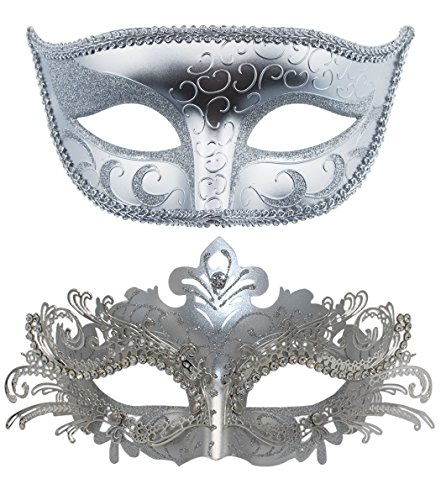 Venezianische Masken, Halloween-Kostüm, Mardi Gras,1Paar Sliver+Sliver