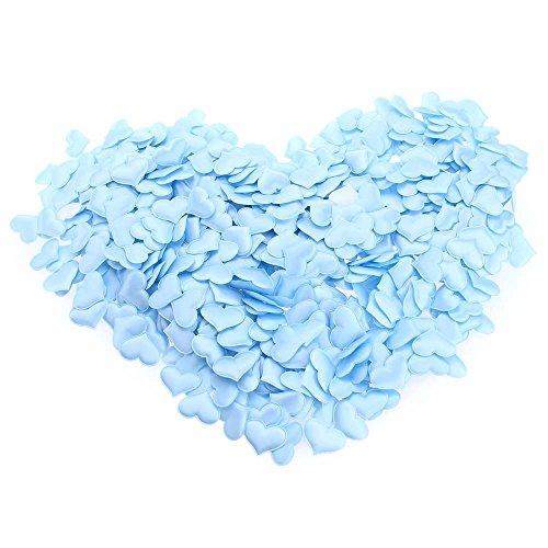 KANG-FANG,Hochzeits-Zubehör 1000pcs aufgefülltes Filz-Glitter-Baumwollblumen-Herz-Gewebe-Applikation(color:BLAU)