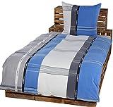 4 Teilige Winter Bettwäsche Set Fleece Mikrofaser Übergröße 2x 155 x 220 cm + 80 cm x 80 cm NEU Modern Streifen Weiß Grau Blau 155x220c