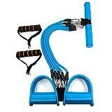 Sunmoch Multifunktionale Bauchtrainer Latex Schlauch einstellbar Fußpedal Zugseil 5 Aktien Knirscht Fitness Seil (blau)