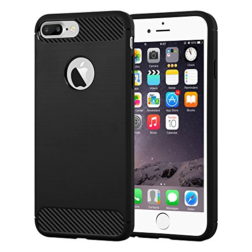 Cadorabo - Cubierta Protectora Opaca para > Apple iPhone 8 PLUS / 7 PLUS / 7S PLUS < de Silicona TPU en una Combinación de Diseño Fibra de Carbono y Acero Inoxidable Cepillado – Case Cover Funda Carcasa Protección en BRUSHED-NEGRO
