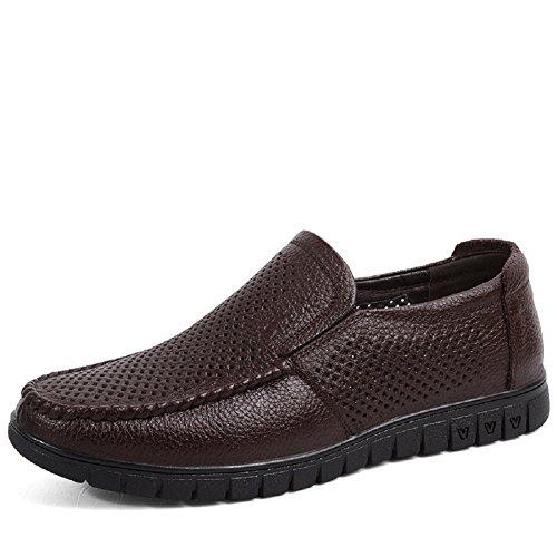 Uomo mocassini estivi lucidi pelle walking scarpe set piedi foro di respirazione