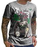 Stylotex Herren T-Shirt Basic So sehn Sieger aus Guy Wales, Farbe:heather;Größe:S