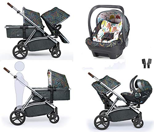 Cosatto Wow XL Tandem Pushchair in Nordik with Board car seat Bag & footmuff Cosatto INCLUDES: Chassis, Carrycot, Seat unit, Buggy board, Dock isize car seat, Change bag, Footmuff, 2 x Raincover, 2 x Toys and 10 year guarantee(UK and Ireland only) Comes as a single unit with carrycot, seat unit and adaptor kit. Suitable from birth up to 25kg Seat unit suitable from 6 months up to 25kg Carrycot suitable from birth to approx. 6 months Compatible with Dock i-Size car seat. (Car seat & adaptor both included) High position seat option bringing baby closer to you less reaching and stretching post pregnancy. From-birth carrycot with comfy mattress, carry handle and removable washable liner. 'In or out' facing pushchair seat lets them bond with you or enjoy the view. Deep comfy pushchair seat for a supportive snuggle. Seat structured and upholstered for ultra comfort. Chest pads and tummy pad. This is comfort. 2