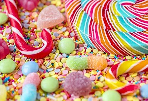 EdCott 7x5ft Bunte Lutscher Bonbons Zuckerhut Lollypop Fotografie Hintergrund Tuch Vinyl Süßigkeiten Baby Dusche Kinder Jungen Mädchen Geburtstagsfeier Fotografie Video Tapete Fotostudio Requisiten