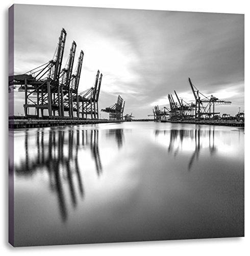 Hafen im Abendschein Kunst B&W, Format: 60x60 auf Leinwand, XXL riesige Bilder fertig gerahmt mit Keilrahmen, Kunstdruck auf Wandbild mit Rahmen, günstiger als Gemälde oder Ölbild, kein Poster oder Plakat - Boot Leinwand Kunst