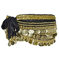 BellyLady Multi-Row Gold Coins Belly Dance Skirt Wrap & Hip Scarf, Gift Idea-Black