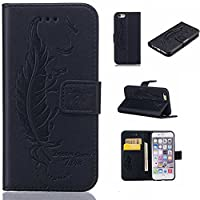iPhone 6s Plus / iPhone 6 Plus Case Cover [with Free Tempered Glass Screen Protector], KKEIKO® iPhone 6 Plus / iPhone 6s Plus Wallet Case, Durable Leather Flip Cover Card Holder Case, Wallet Book Style Holster Case with Shock Absorber Cover for Apple iPh