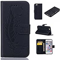 iPhone 6s Plus / iPhone 6 Plus Case Cover [with Free Tempered Glass Screen Protector], KKEIKO® iPhone 6 Plus / iPhone 6s Plus Wallet Case, Durable Leather Flip Cover Card Holder Case, Wallet Book Style Holster Case with Shock Absorber Cover for Apple iPhone 6 Plus / iPhone 6s Plus (Black)