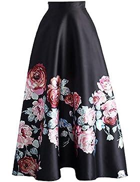 Mujer Falda Larga Elegante Patrón de Floral Slim Fit Plisada Falda con Cremallera Moda Cintura Alta Oscilación...