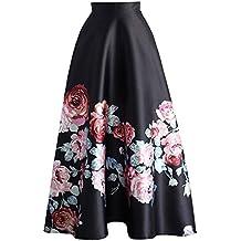 be5afc55f Mujer Falda Larga Elegante Patrón de Floral Slim Fit Plisada Falda con  Cremallera Moda Cintura Alta