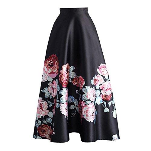 Été Jupe pour Femme Fille Mode Taille Haute Jupe Longue Élégant Motif à Floral Basique Plissée Swing Jupe avec Fermeture Eclair Comme montré