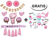 Generic Baby Shower Party Girl Dekoration Set + Gratis Fotorequisiten