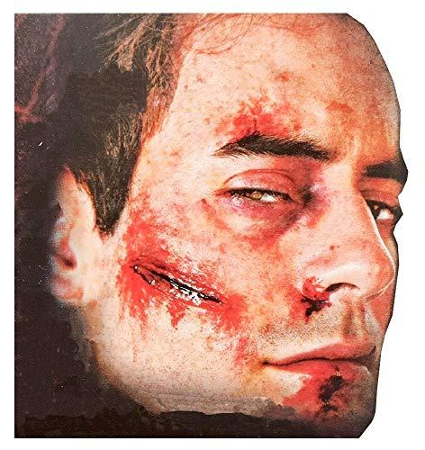 shoperama Professionelle 3D Horror Wunden Tattoo Schnittwunde Einschussloch Zombie verottende Haut Halloween Special FX Make-up, Variante:Schnitt